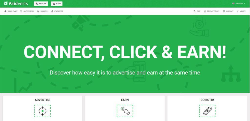 Homepage of Paidverts