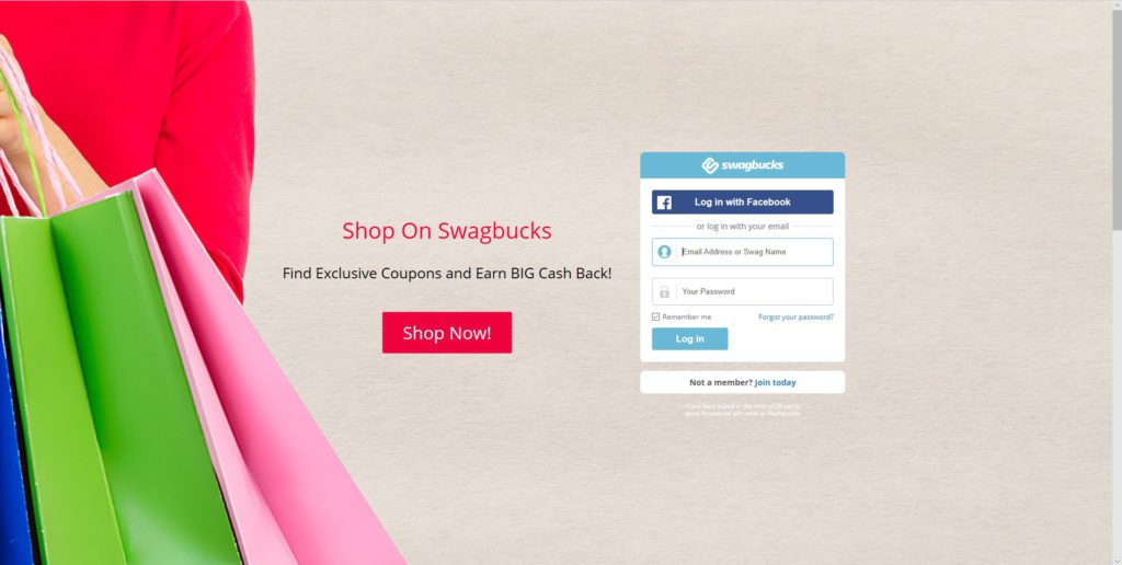 Home page of Swagbucks