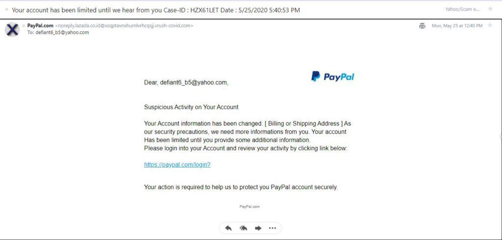 Third PayPal Phishing Email
