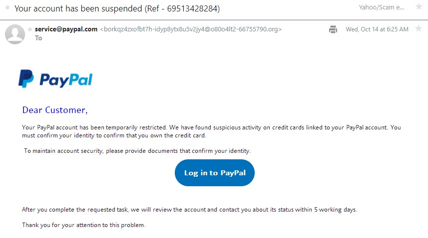 Phishing PayPal Email 2